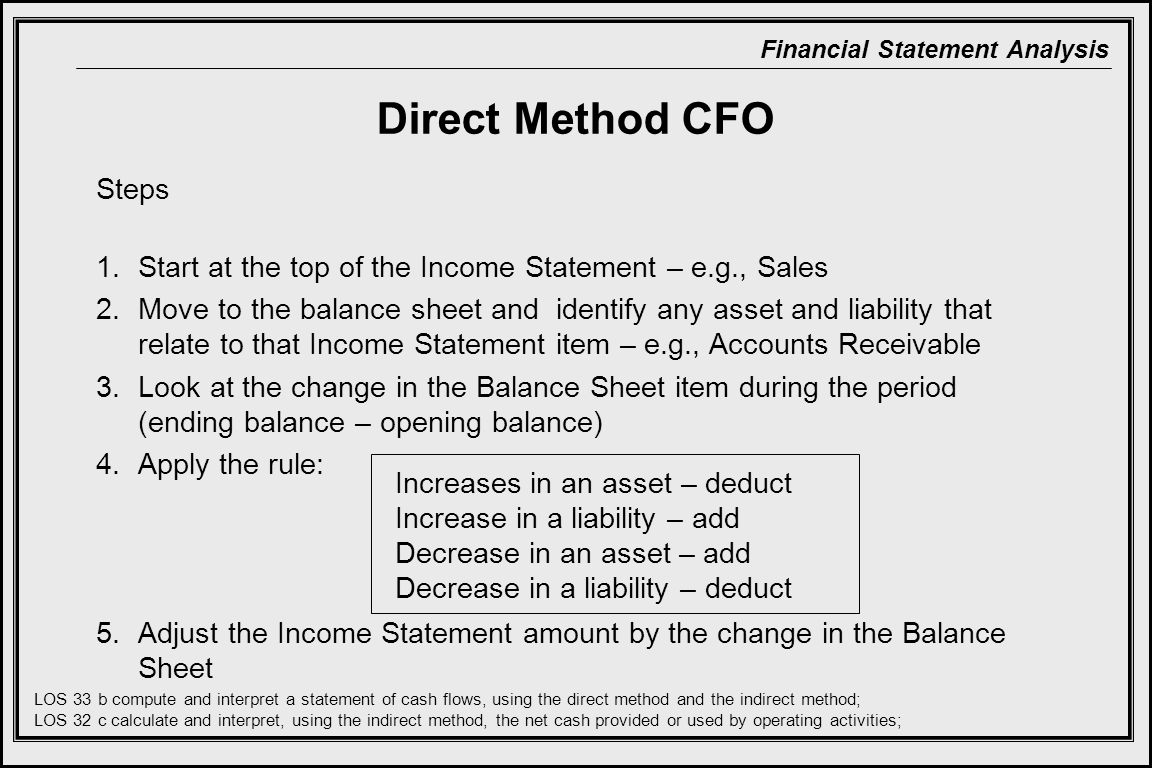 Financial Statement Analysis Direct Method CFO Steps 1.Start at the top of the Income Statement – e.g., Sales 2.Move to the balance sheet and identify any asset and liability that relate to that Income Statement item – e.g., Accounts Receivable 3.Look at the change in the Balance Sheet item during the period (ending balance – opening balance) 4.Apply the rule: 5.Adjust the Income Statement amount by the change in the Balance Sheet Increases in an asset – deduct Increase in a liability – add Decrease in an asset – add Decrease in a liability – deduct LOS 33 b compute and interpret a statement of cash flows, using the direct method and the indirect method; LOS 32 c calculate and interpret, using the indirect method, the net cash provided or used by operating activities;