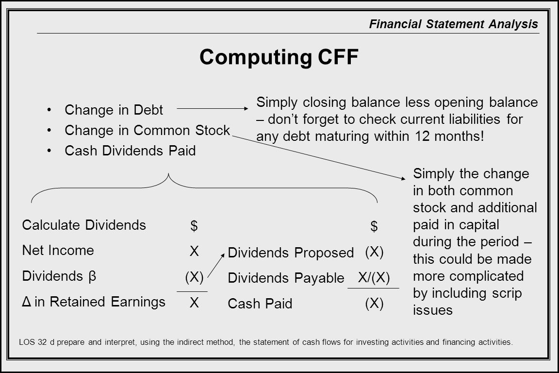 Financial Statement Analysis Computing CFF Change in Debt Change in Common Stock Cash Dividends Paid Simply closing balance less opening balance – don't forget to check current liabilities for any debt maturing within 12 months.