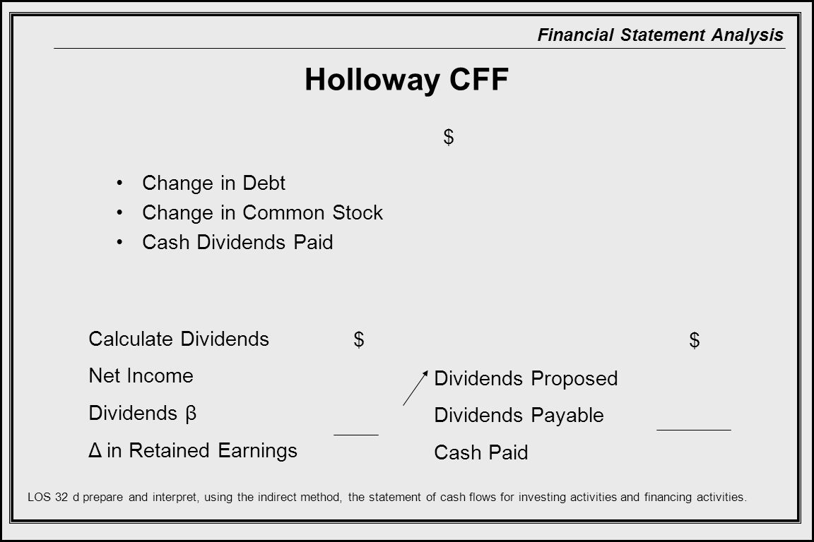 Financial Statement Analysis Holloway CFF Change in Debt Change in Common Stock Cash Dividends Paid Calculate Dividends Net Income Dividends β Δ in Retained Earnings $ Dividends Proposed Dividends Payable Cash Paid $ LOS 32 d prepare and interpret, using the indirect method, the statement of cash flows for investing activities and financing activities.