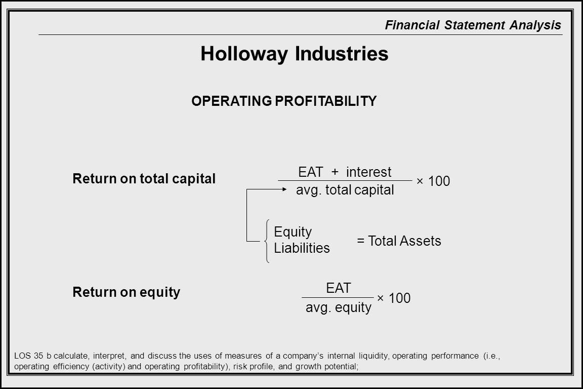 Financial Statement Analysis Return on total capital Return on equity OPERATING PROFITABILITY EAT + interest avg.