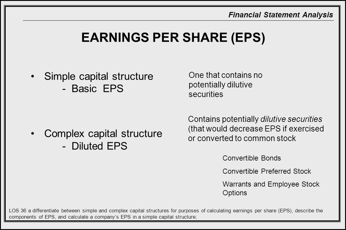 Financial Statement Analysis EARNINGS PER SHARE (EPS) Simple capital structure - Basic EPS Complex capital structure - Diluted EPS One that contains no potentially dilutive securities Contains potentially dilutive securities (that would decrease EPS if exercised or converted to common stock LOS 36 a differentiate between simple and complex capital structures for purposes of calculating earnings per share (EPS), describe the components of EPS, and calculate a company's EPS in a simple capital structure; Convertible Bonds Convertible Preferred Stock Warrants and Employee Stock Options