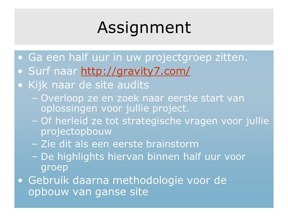 Assignment Ga een half uur in uw projectgroep zitten.
