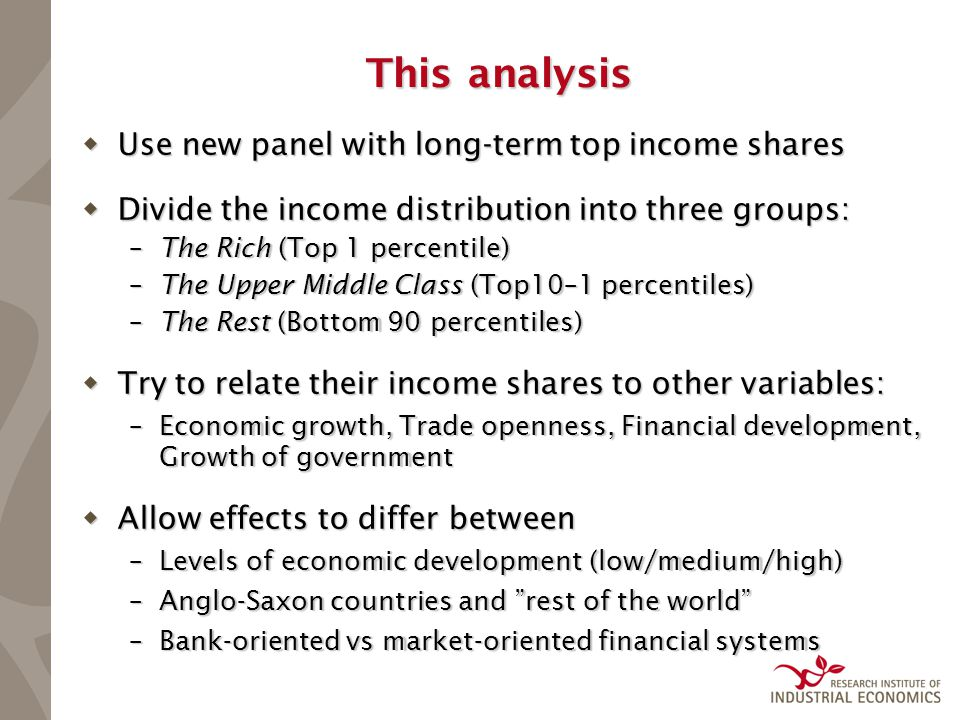 This analysis  Use new panel with long-term top income shares  Divide the income distribution into three groups: –The Rich (Top 1 percentile) –The U