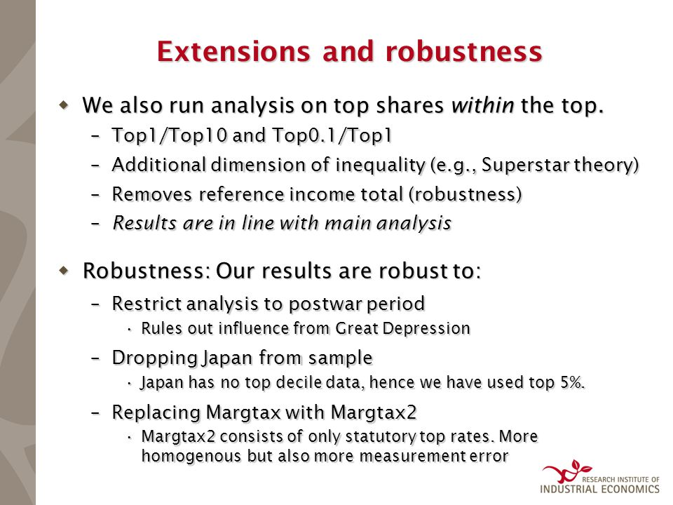 Extensions and robustness  We also run analysis on top shares within the top. –Top1/Top10 and Top0.1/Top1 –Additional dimension of inequality (e.g.,