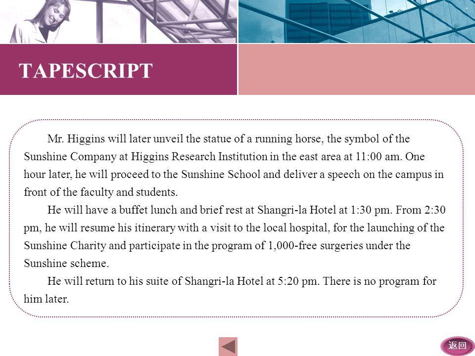 返回 A tight schedule awaits Mr. Higgins, the Chief Executive Officer of the American Sunshine Company, as he flies in here — Sydney, Australia tomorrow
