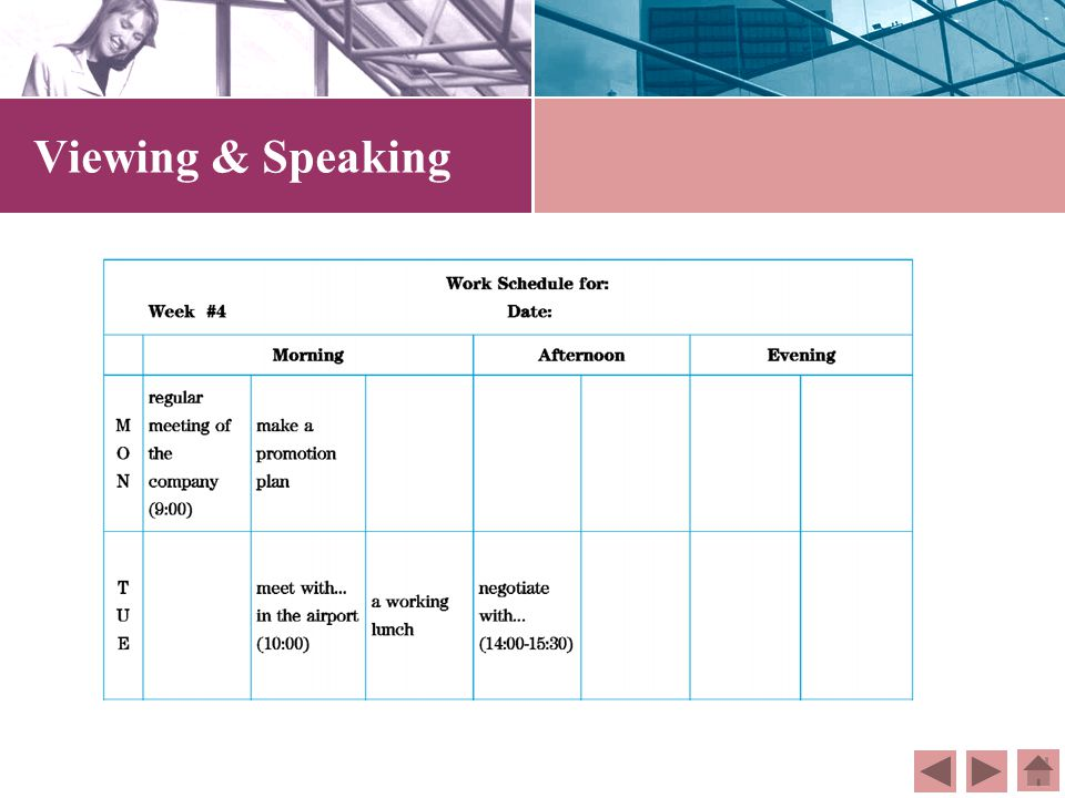 Viewing & Speaking Directions: Watch the video again and get familiar with the characters in the dialogue. Then role play the characters in pairs. Dir