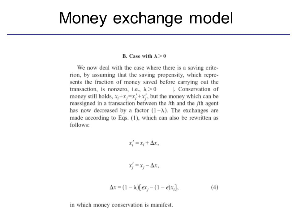 Money exchange model