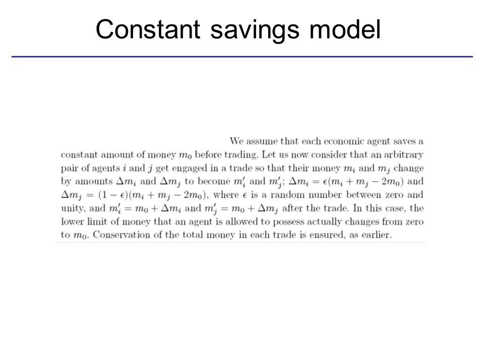 Constant savings model