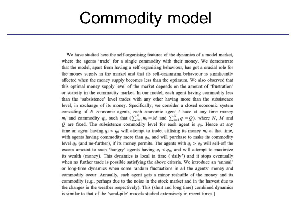 Commodity model