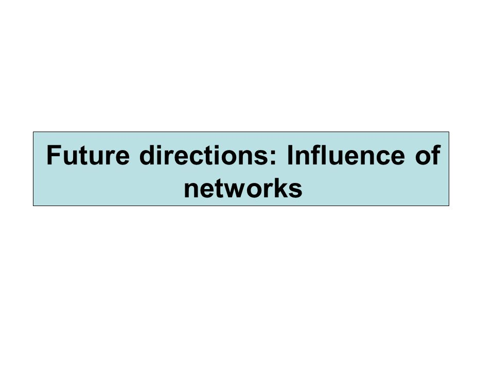 Future directions: Influence of networks