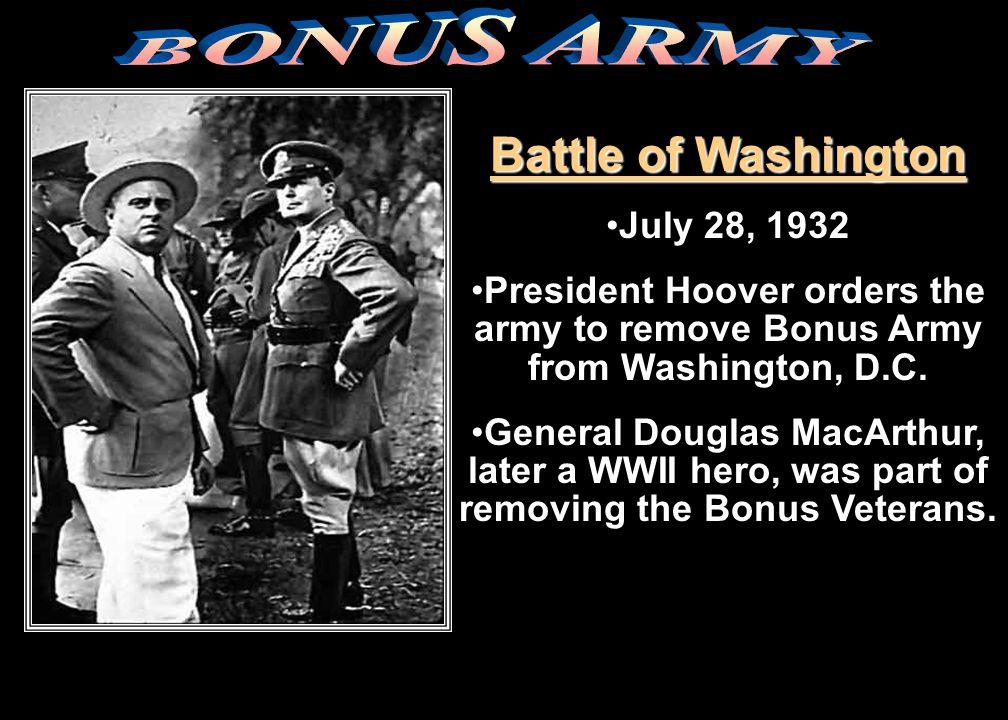 DEBTS Bonus Army refused to leave Washington, DCBonus Army refused to leave Washington, DC until Congress gave them their Bonus.