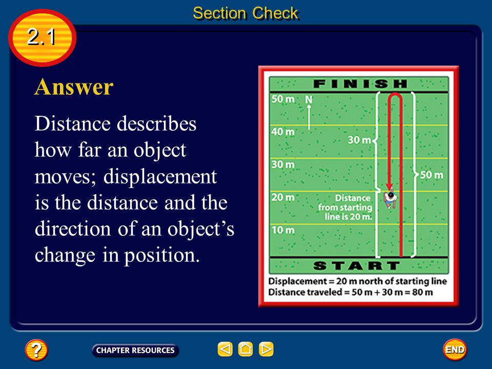 2.1 Question 1 What is the difference between distance and displacement? Section Check