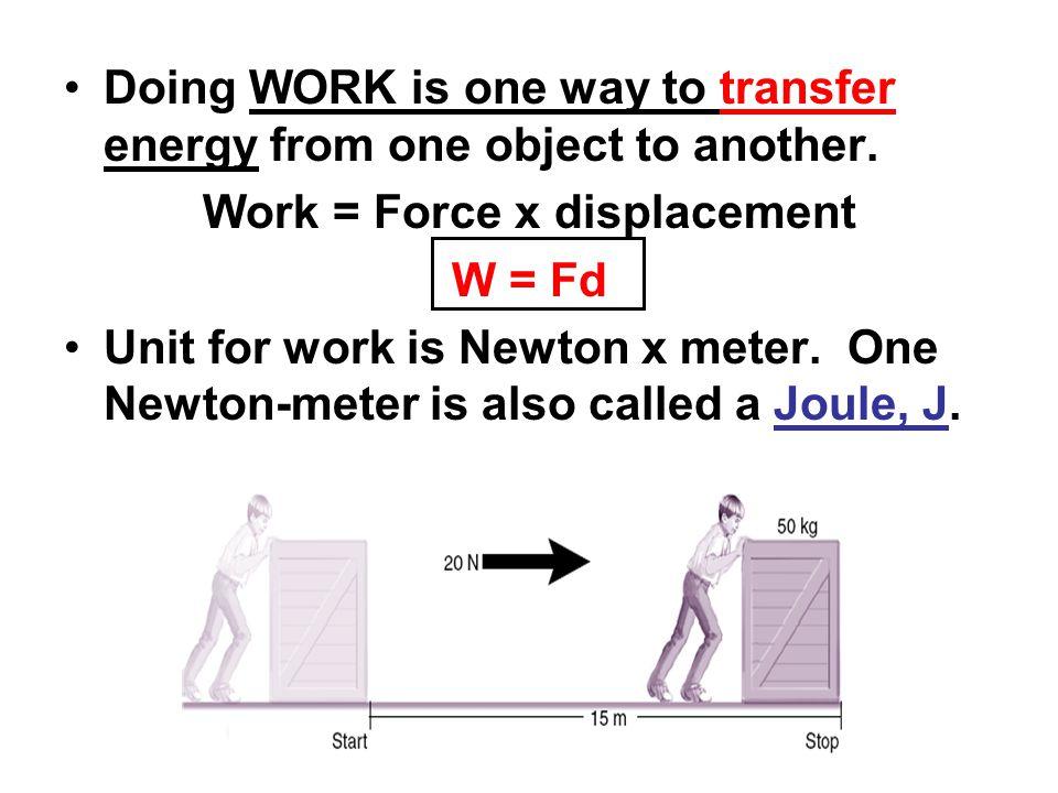 Work- the transfer of energy