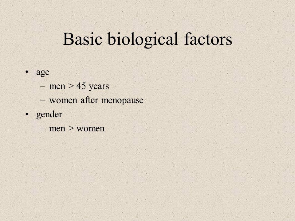 Basic biological factors age –men > 45 years –women after menopause gender –men > women