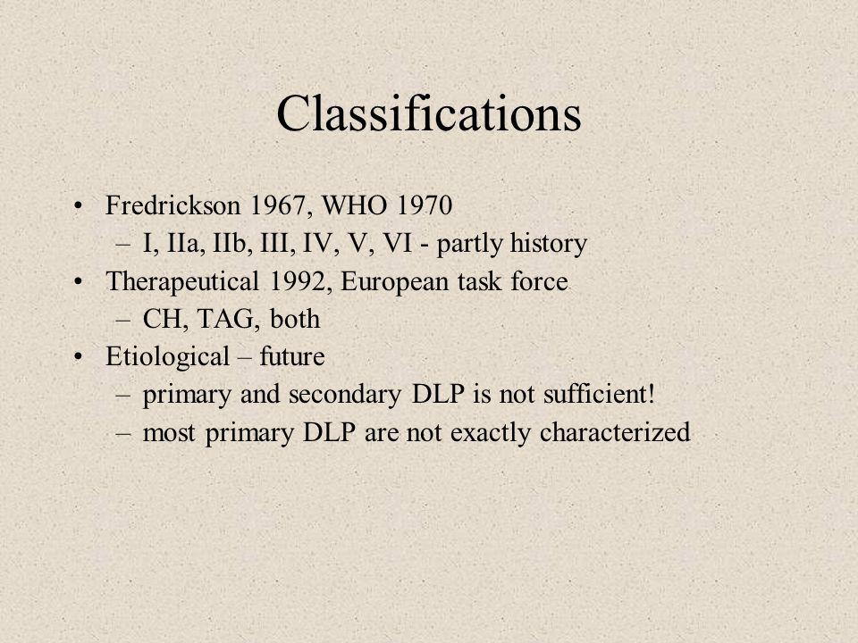 Classifications Fredrickson 1967, WHO 1970 –I, IIa, IIb, III, IV, V, VI - partly history Therapeutical 1992, European task force –CH, TAG, both Etiolo
