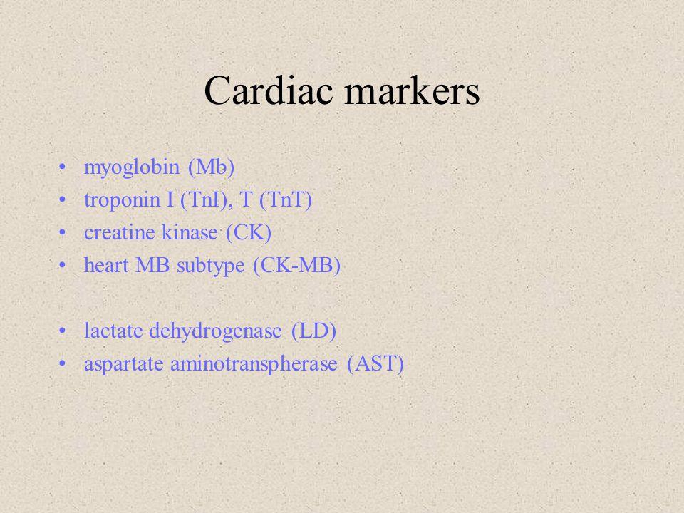 Cardiac markers myoglobin (Mb) troponin I (TnI), T (TnT) creatine kinase (CK) heart MB subtype (CK-MB) lactate dehydrogenase (LD) aspartate aminotrans