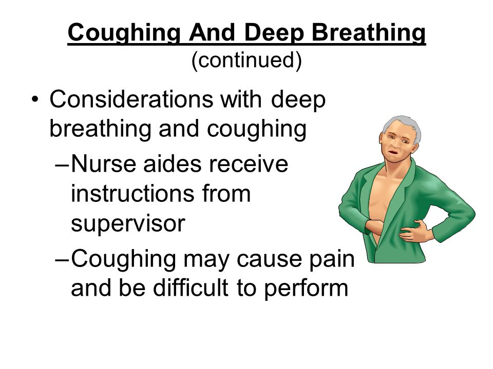 Coughing And Deep Breathing (continued) Considerations with deep breathing and coughing –Nurse aides receive instructions from supervisor –Coughing may cause pain and be difficult to perform