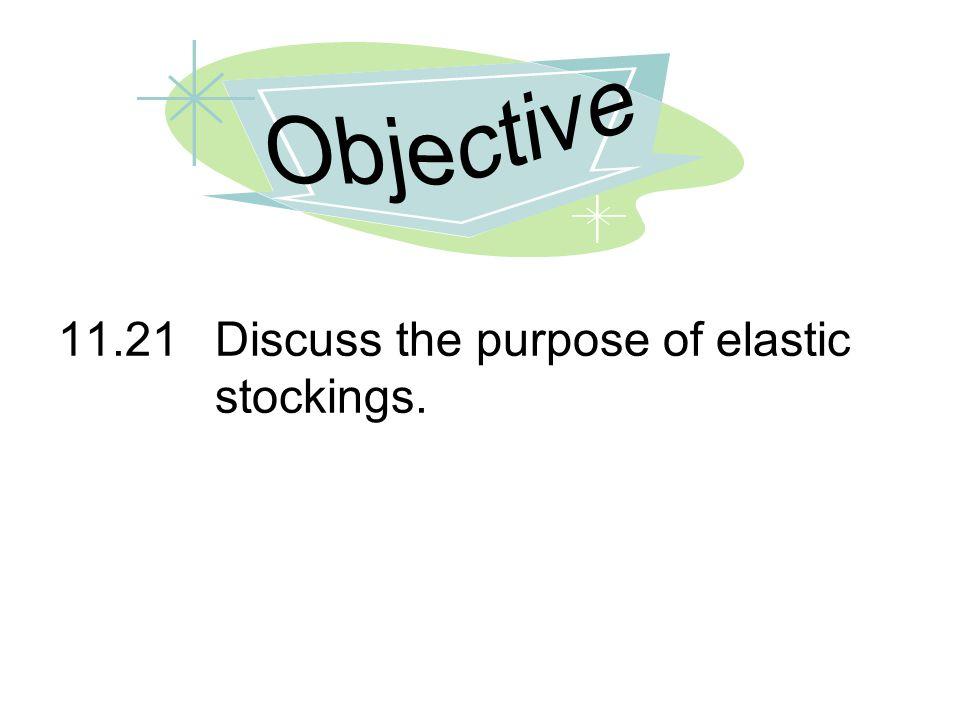 11.21Discuss the purpose of elastic stockings.