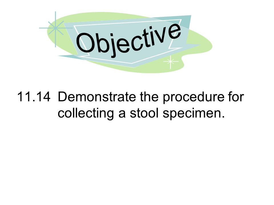 11.14Demonstrate the procedure for collecting a stool specimen.