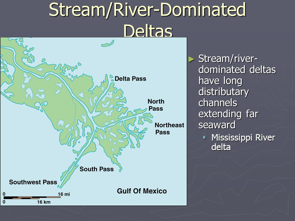 ► Stream/river- dominated deltas have long distributary channels extending far seaward  Mississippi River delta Stream/River-Dominated Deltas