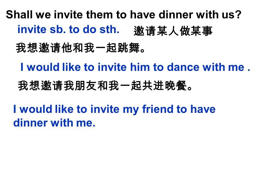 Shall we invite them to have dinner with us.invite sb.