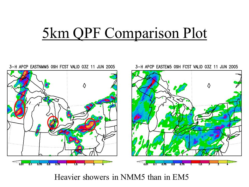 5km QPF Comparison Plot Heavier showers in NMM5 than in EM5
