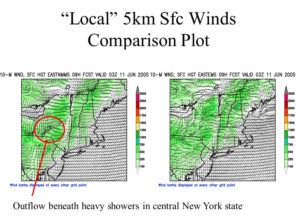 """Local"" 5km Sfc Winds Comparison Plot Outflow beneath heavy showers in central New York state"