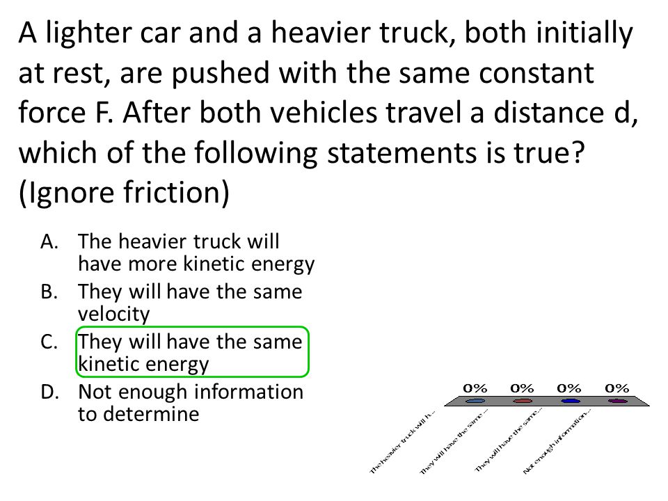 A lighter car and a heavier truck, both initially at rest, are pushed with the same constant force F. After both vehicles travel a distance d, which o