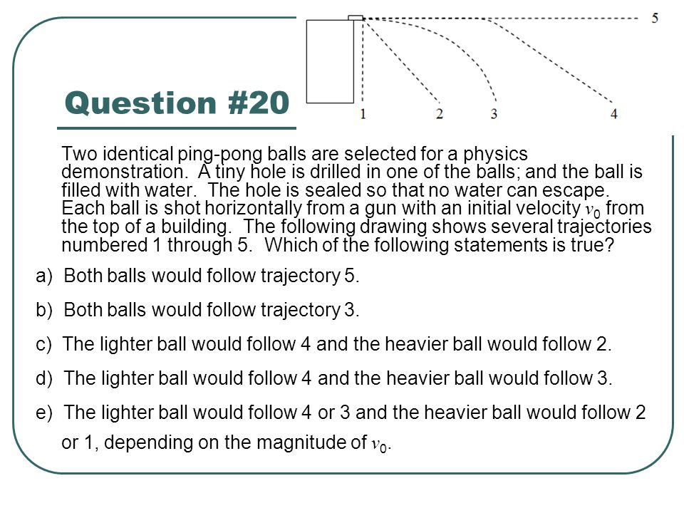 Question #20 Two identical ping-pong balls are selected for a physics demonstration. A tiny hole is drilled in one of the balls; and the ball is fille