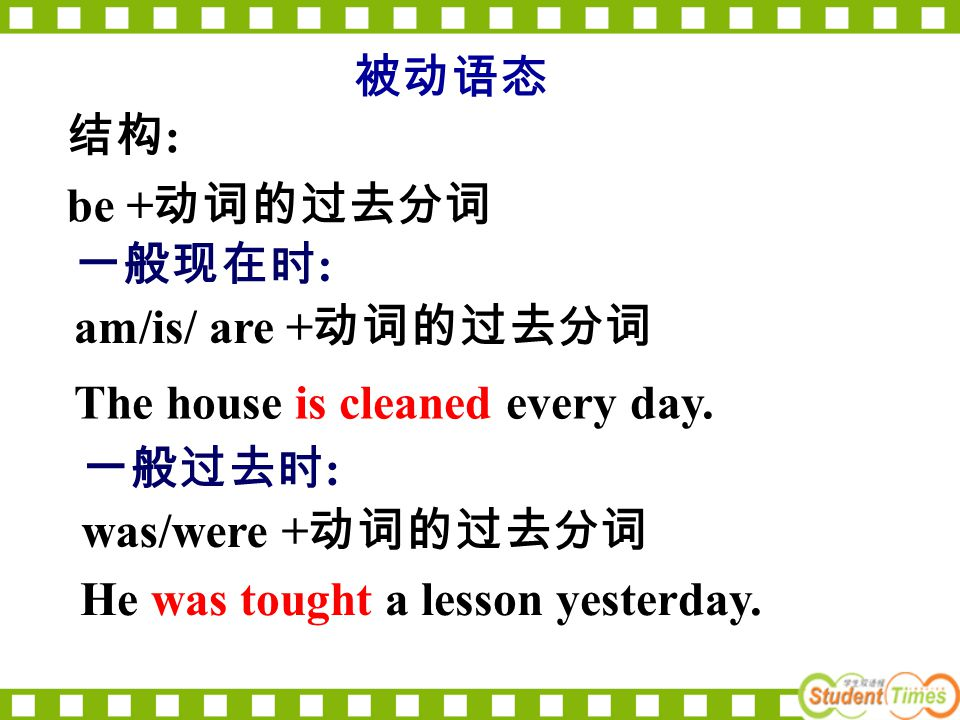 The house is cleaned every day. 被动语态 结构 : be + 动词的过去分词 一般现在时 : am/is/ are + 动词的过去分词 一般过去时 : was/were + 动词的过去分词 He was tought a lesson yesterday.