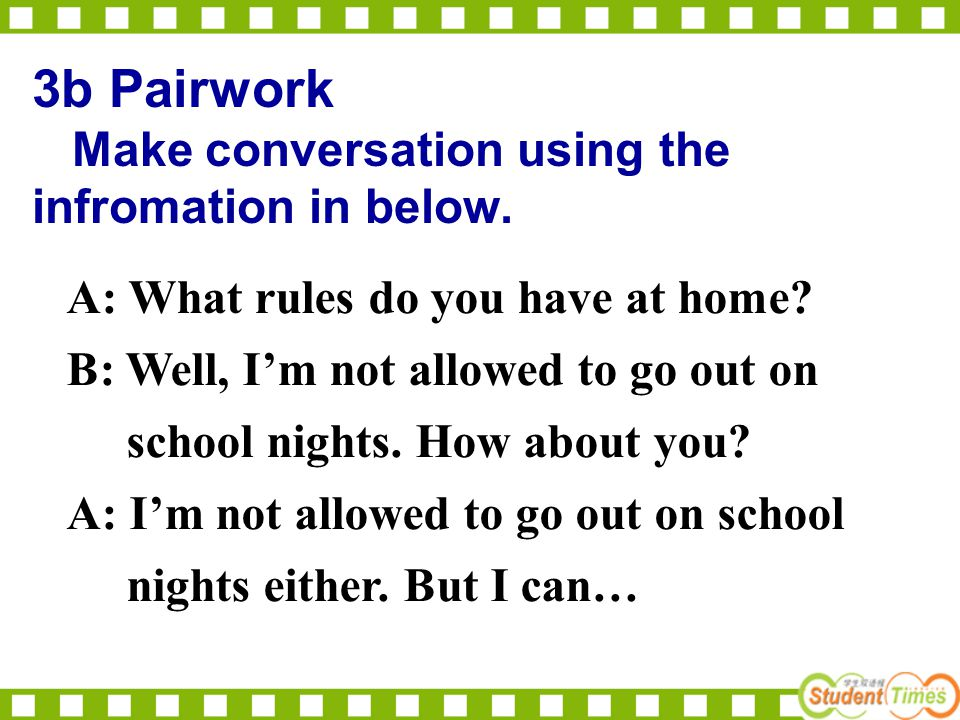 3b Pairwork Make conversation using the infromation in below.