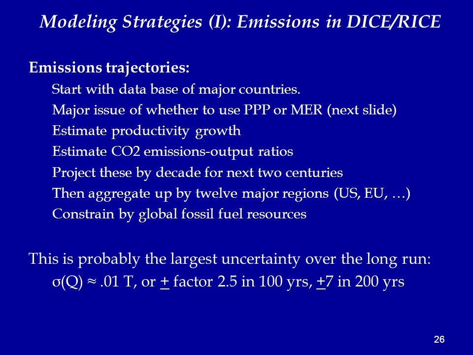 26 Emissions trajectories: Start with data base of major countries.