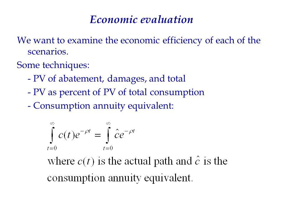 Economic evaluation We want to examine the economic efficiency of each of the scenarios.