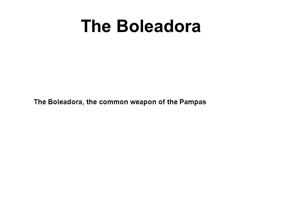 The Boleadora The Boleadora, the common weapon of the Pampas