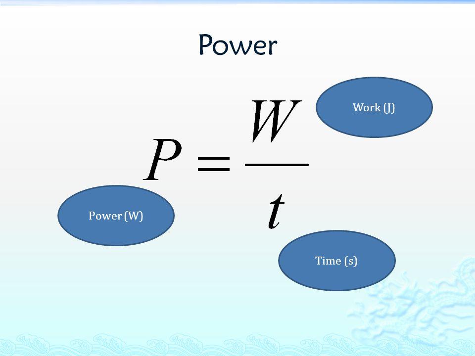 Power Power (W) Work (J) Time (s)