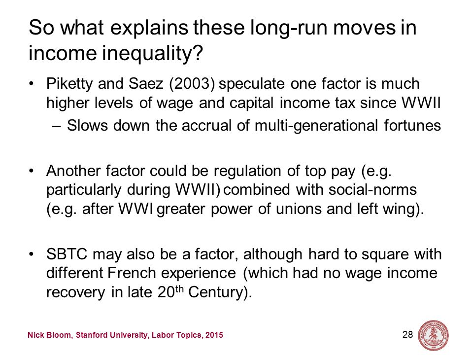 Nick Bloom, Stanford University, Labor Topics, 2015 Japan and Sweden similar to France 27 Source: http://eml.berkeley.edu/~saez/lecture_saez_chicago14.pdfhttp://eml.berkeley.edu/~saez/lecture_saez_chicago14.pdf