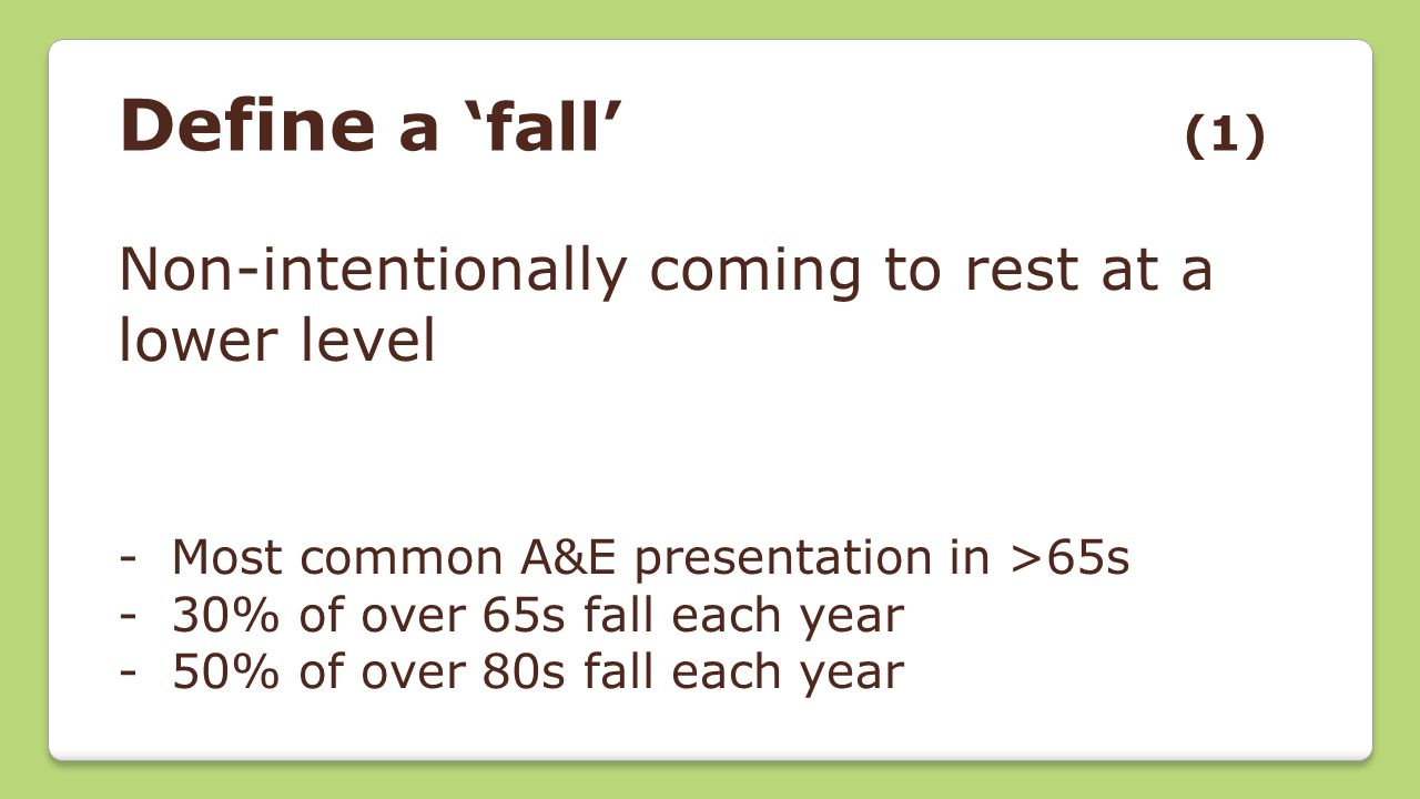 Define a 'fall' (1) Non-intentionally coming to rest at a lower level -Most common A&E presentation in >65s -30% of over 65s fall each year -50% of ov