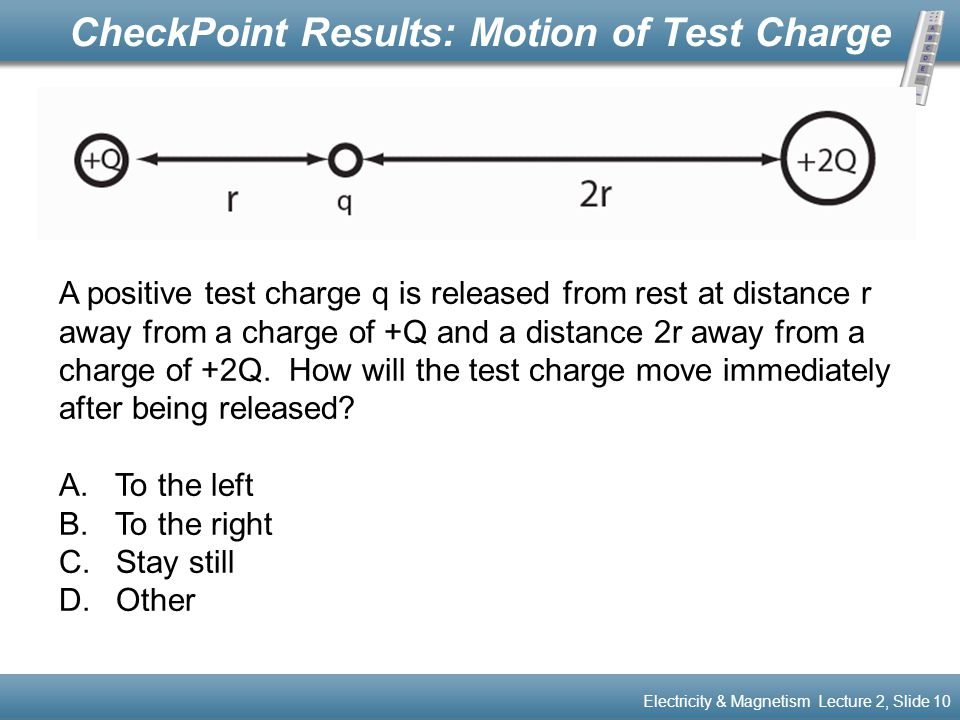 CheckPoint Results: Motion of Test Charge Electricity & Magnetism Lecture 2, Slide 10 A positive test charge q is released from rest at distance r awa