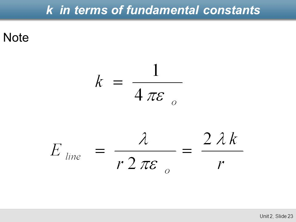 k in terms of fundamental constants Unit 2, Slide 23 Note