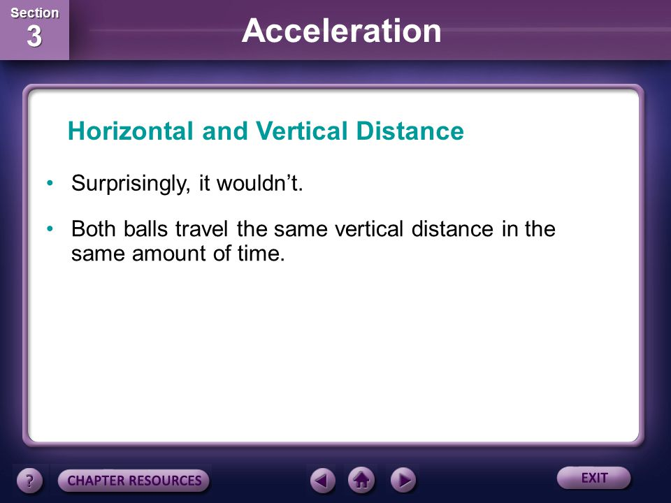 Section 3 Section 3 Acceleration If you were to throw a ball as hard as you could from shoulder height in a perfectly horizontal direction, would it t