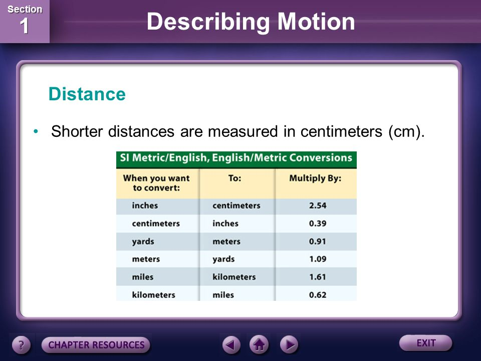 Section 1 Section 1 Describing Motion An important part of describing the motion of an object is to describe how far it has moved, which is distance.