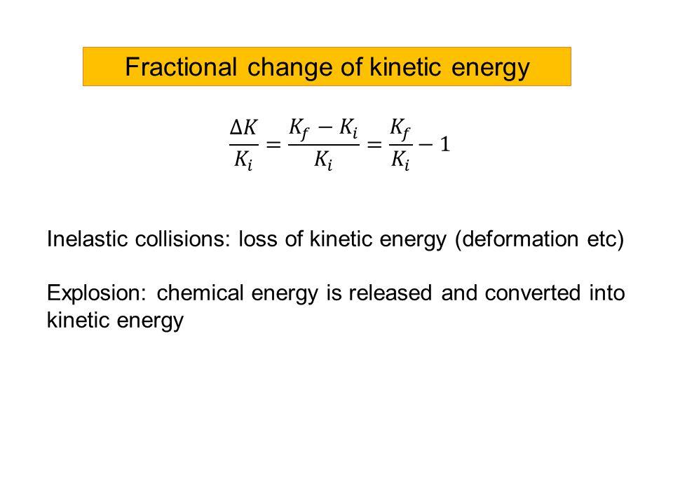 Fractional change of kinetic energy