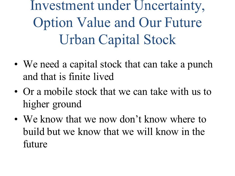 Investment under Uncertainty, Option Value and Our Future Urban Capital Stock We need a capital stock that can take a punch and that is finite lived O