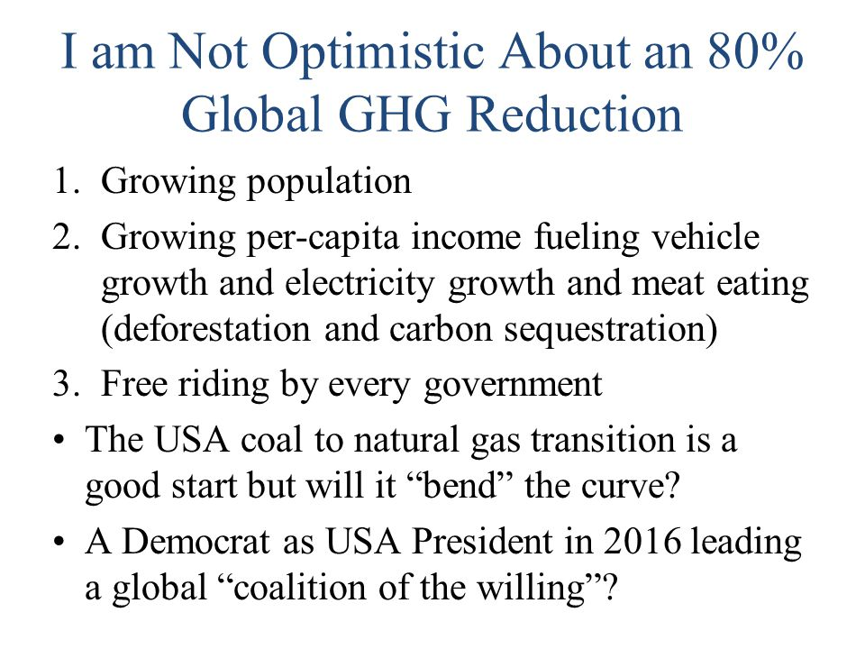 I am Not Optimistic About an 80% Global GHG Reduction 1.Growing population 2.Growing per-capita income fueling vehicle growth and electricity growth a