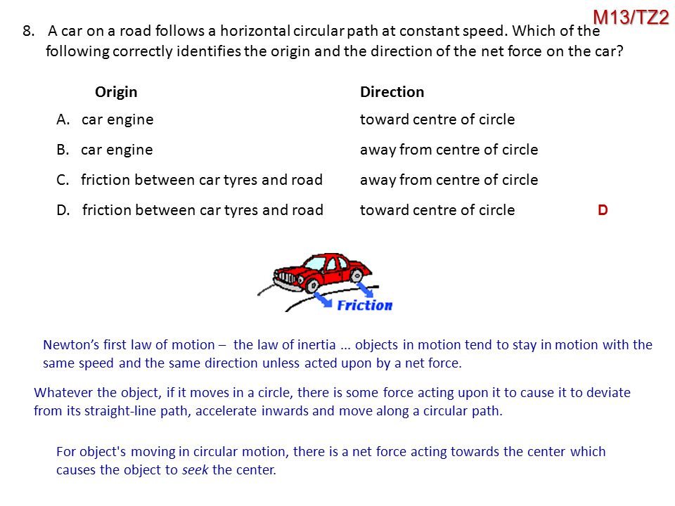 8.A car on a road follows a horizontal circular path at constant speed. Which of the following correctly identifies the origin and the direction of th