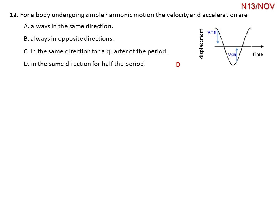 12. For a body undergoing simple harmonic motion the velocity and acceleration are A. always in the same direction. B. always in opposite directions.