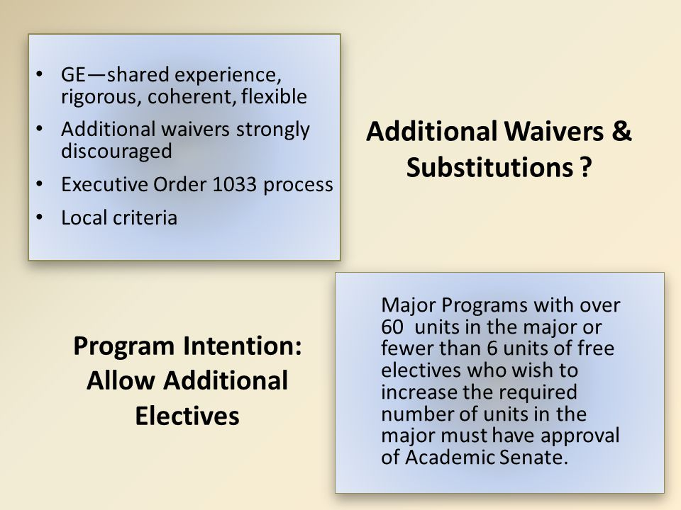 Additional Waivers & Substitutions ? GE—shared experience, rigorous, coherent, flexible Additional waivers strongly discouraged Executive Order 1033 p