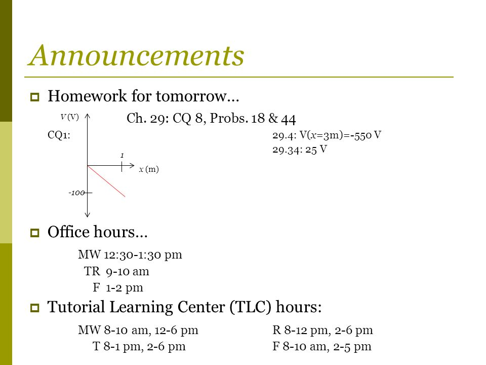 Announcements  Homework for tomorrow… Ch. 29: CQ 8, Probs.