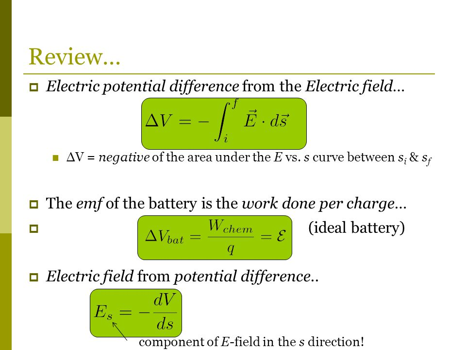  Electric potential difference from the Electric field… ΔV = negative of the area under the E vs.