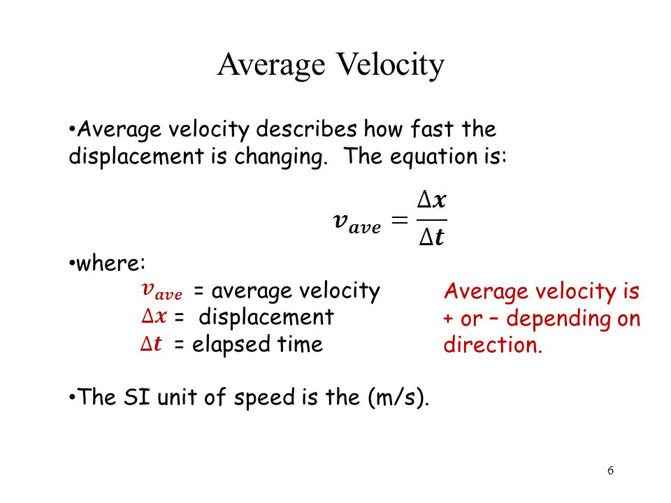 Average Velocity Average velocity describes how fast the displacement is changing.